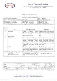 Сертификат качества Natco Pharma Limited №5