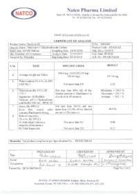 Сертификат качества Natco Pharma Limited №6