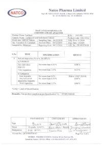 Сертификат качества Natco Pharma Limited №9