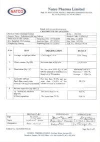 Сертификат качества Natco Pharma Limited №11