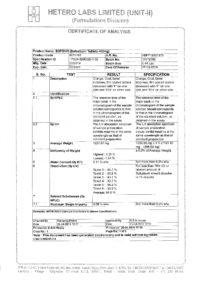 Сертификат качества Hetero Labs Limited №9