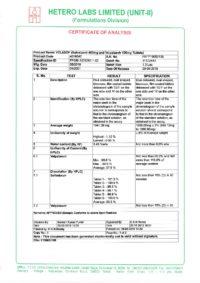 Сертификат качества Hetero Labs Limited №11